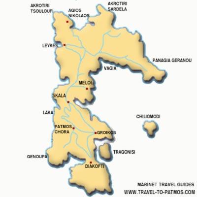 Patmos map - Travel to Patmos -  The dodecanesian island of Patmos, Greece complete guide with information on PATMOS, MONASTERY OF SAINT JOHN, PATMOS CHORA, ROCK OF KALLISTO, SKALA, VAGIA BEACH, GRIKOS,